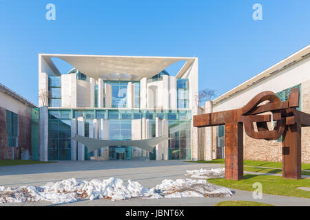 BERLIN, GERMANY, FEBRUARY - 13, 2017: The Bundeskanzleramt (Federal Chancellery) building by architects  Axel Schultes - Stock Photo