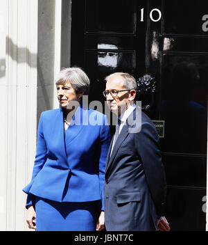 England, London, Theresa May in Downing Street after the 2017 election with husband Philip May on the steps of number - Stock Photo