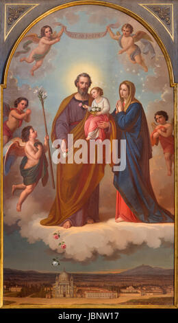 TURIN, ITALY - MARCH 15, 2017:  The painting of Holy Family in church Basilica Maria Ausiliatrice by Tommaso Lorenzone - Stock Photo
