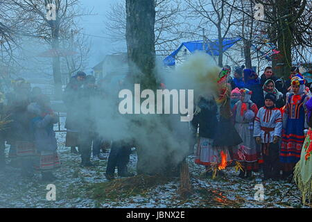 Maslenitsa in the Belarusian village (agro-town). Eastern Slavic religious and folk holiday, celebrated during the - Stock Photo