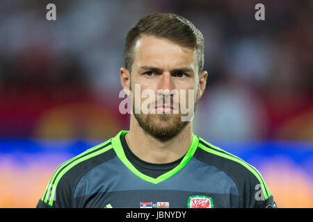 BELGRADE, SERBIA - JUNE 11, 2017: Aaron Ramsey of Wales looks on during the national anthem during the 2018 FIFA - Stock Photo