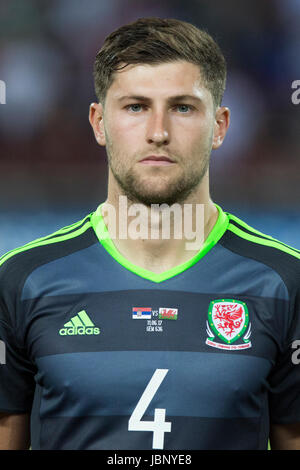 BELGRADE, SERBIA - JUNE 11, 2017: Ben Davies of Wales looks on during the national anthem during the 2018 FIFA World - Stock Photo