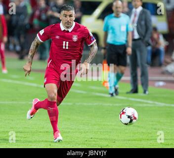BELGRADE, SERBIA - JUNE 11, 2017: Aleksandar Kolarov of Serbia during the 2018 FIFA World Cup Qualifier match between - Stock Photo