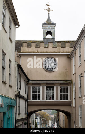 Clock tower in Totnes, South Devon - Stock Photo