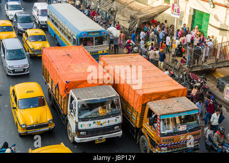Traffic jam on a busy road in the suburb Sealdah - Stock Photo