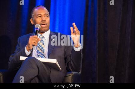 U.S. Secretary of Housing and Urban Development Ben Carson speaks at the National Housing Conference June 9, 2017 - Stock Photo