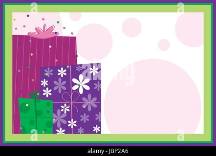 Presents - Birthday Presents on colorful confetti and polka dot background - Stock Photo