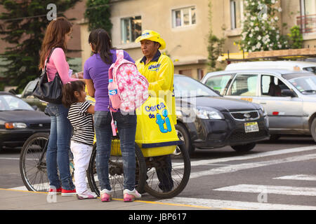 LIMA, PERU - MARCH 16, 2012: Unidentified people selling and buying D'Onofrio ice cream on the street on Malecon - Stock Photo