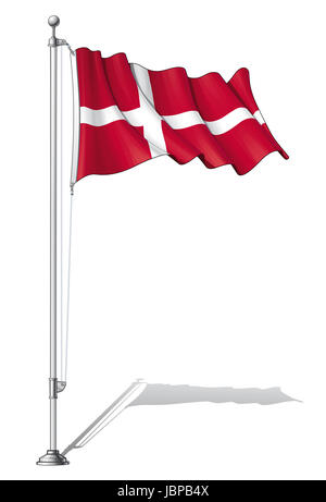 Vector Illustration of a waving Danish flag fasten on a flag pole. Flag and pole in separate layers, line art, shading - Stock Photo