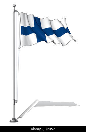 Vector Illustration of a waving Finnish flag fasten on a flag pole. Flag and pole in separate layers, line art, - Stock Photo