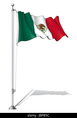 Vector Illustration of a waving Mexican flag fasten on a flag pole. Flag and pole in separate layers, line art, - Stock Photo