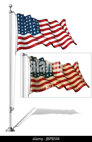 Vector Illustration of a waving 48 star US flag in a clean-cut and an aged version, fasten on a flag pole. This - Stock Photo