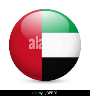 Flag of United Arab Emirates as round glossy icon. Button with flag design - Stock Photo