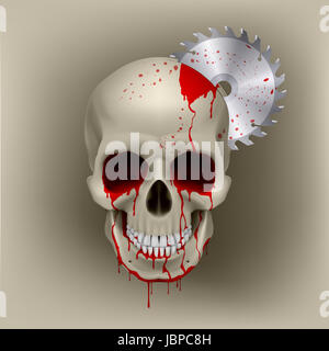 Dead skull with blood in his eyes. Inside the skull from disk grinder - Stock Photo