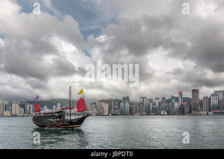HONG KONG, CHINA - MAY 19 : Famous Aqua Luna boat sail on the victoria harbour in Hong Kong,  China on 19th May - Stock Photo