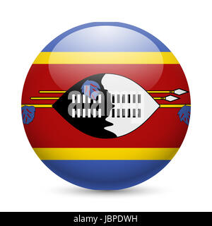 Flag of Swaziland as round glossy icon. Button with Swazi flag - Stock Photo