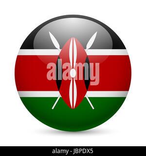 Flag of Kenya as round glossy icon. Button with Kenyan flag - Stock Photo