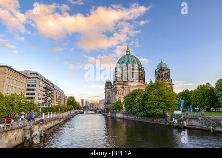 Berlin Cathedral or Berliner Dom when sunset, Berlin, Germany - Stock Photo