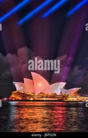 Sydney, Australia - 8 June 2017: Sydney Opera house with projected light image on its side during Vivid Sydney light - Stock Photo