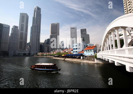 Asien, Suedost, Singapur, Insel, Staat, Stadt, City, Skyline, Zentrum, Boat Quay, Bankenviertel, Singapore River, - Stock Photo