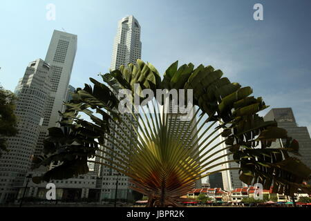 Asien, Suedost, Singapur, Insel, Staat, Stadt, City, Skyline, Zentrum, Boat Quay, Bankenviertel, Raffles Square, - Stock Photo