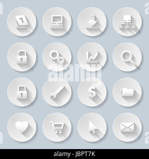 Web site and Internet icons set in paper style - Stock Photo