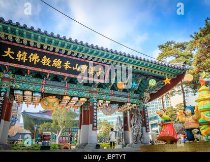 Dec 16, 2016 Jogyesa Temple in Seoul, South Korea - Historical landmark - Stock Photo