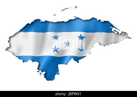 Honduras flag map, three dimensional render, isolated on white - Stock Photo