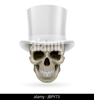 Human skull wearing a white top hat. - Stock Photo
