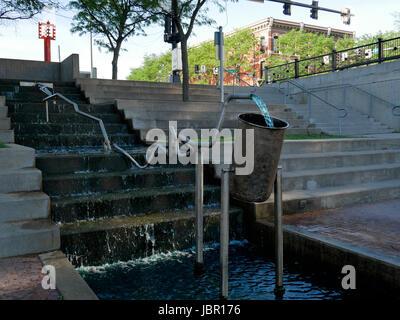 Water sculpture, Gene Leahy Mall, Omaha, Nebraska. - Stock Photo