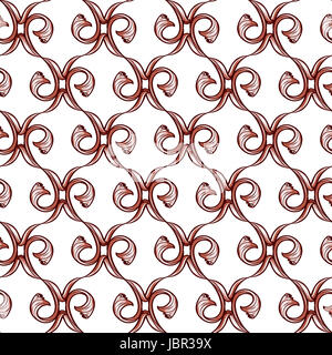 Vertical light brown pattern of vines on a white background - Stock Photo