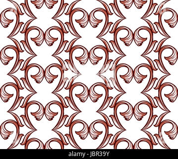 Light brown vertical pattern of vines on a white background - Stock Photo