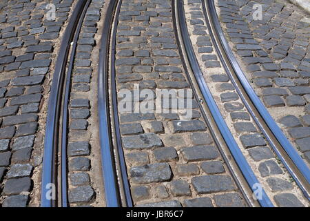 Europa, Westeuropa, EU, Euro, Portugal, Lissabon, Altstadt, Alfama, Tram, Strassenbahn, Zug, Transport,  (Urs Flueeler) - Stock Photo