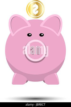 Pig and gold coins isolated on white background. Piggy bank with falling coins in flat design. Gold dollar coin - Stock Photo