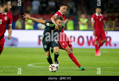 Belgrade. 11th June, 2017. Serbia's Nemanja Matic (R) vies with Wales's Aaron Ramsey during group D 2018 World Cup - Stock Photo