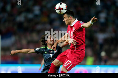 Belgrade. 11th June, 2017. Serbia's Filip Kostic (R) vies with Wales's Joe Allen during group D 2018 World Cup qualifying - Stock Photo