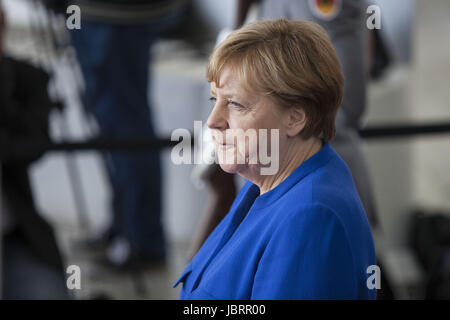 Berlin, Germany. 12th June, 2017. German Chancellor Angela Merkel is Seen waiting to a delegation of African leaders - Stock Photo