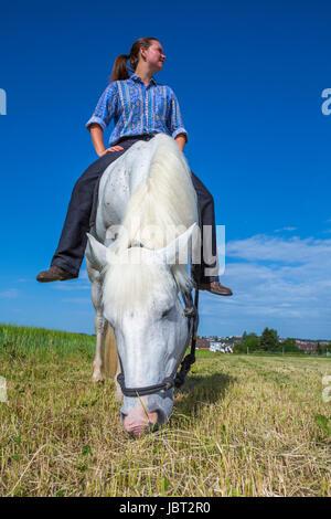 Junge Frau sitzt ohne Sattal auf einem weissem Pferd beim weiden - Stock Photo