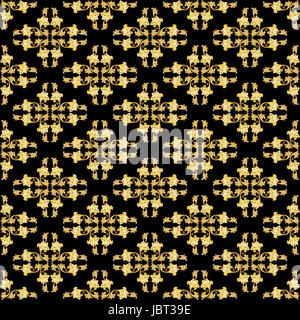Gold floral seamless  pattern on black background - Stock Photo