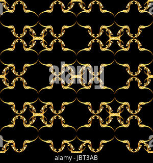 Seamless golden floral pattern on black background - Stock Photo