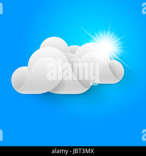 White three-dimentional cloud and sun shining on blue sky. - Stock Photo