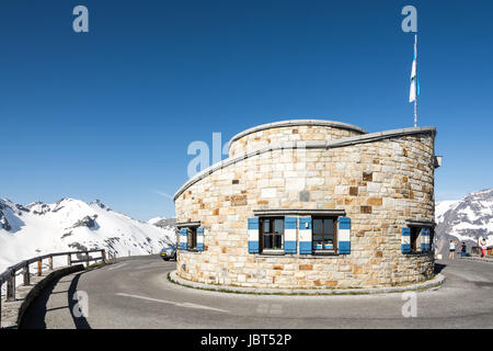 EDELWEISS-SPITZE, AUSTRIA - JUNE 10: Tourists at the tower of the Edelweiss-Spitze, Austria on June 10 2014. Highest - Stock Photo