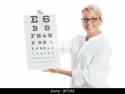 doctor holding an eye test - Stock Photo
