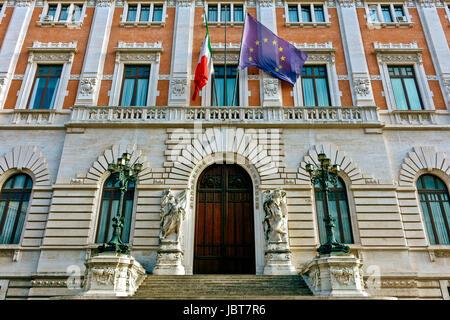 Palazzo Montecitorio. Chamber of Deputies of the Italian Republic. Italian Parliament. Camera dei deputati. Flying - Stock Photo