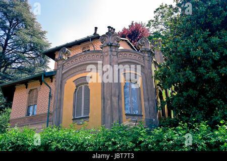 Villa Scott, liberty style. Movie location for film Deep Red by Dario Argento. Crimea borough, Po borough. Borgo - Stock Photo