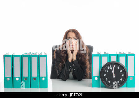 businesswoman under time pressure - Stock Photo