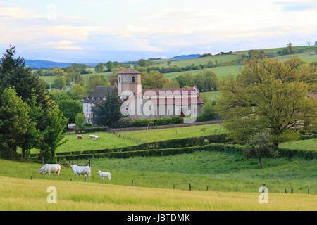 France, Puy-de-Dôme (63), Combrailles, Saint-Hilaire-la-Croix, église Saint-Hilaire // France, Puy de Dome, Combrailles, - Stock Photo