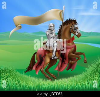 A red medieval knight in armor riding on horseback on a brown horse holding a flag or banner in green field of grass - Stock Photo