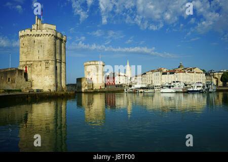 Harbor and fort at La Rochelle,  Charente-Maritime département, Nouvelle-Aquitaine région France - Stock Photo