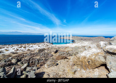 Desert landscape and beach on Damas Island in Chile - Stock Photo